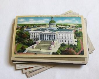 SALE - 26 Vintage South Carolina Postcards - WATER DAMAGED - Collage, Mixed Media, Scrapbooking, Paper Craft, Travel Journal Supplies