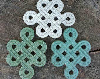 Trivet, Handmade Stoneware, Carved Celtic Knot, Infinity Symbol, Tile (White, Green or Blue)