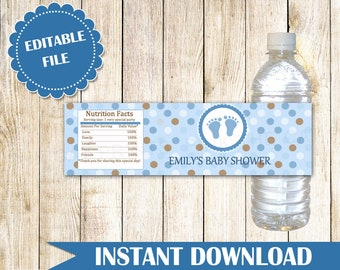 Blue Brown Baby Shower Bottle Label Polka Dots Boy Baby Shower Bottle Wrapper Blue Brown Bottle Label Blue Brown Sticker INSTANT DOWNLOAD