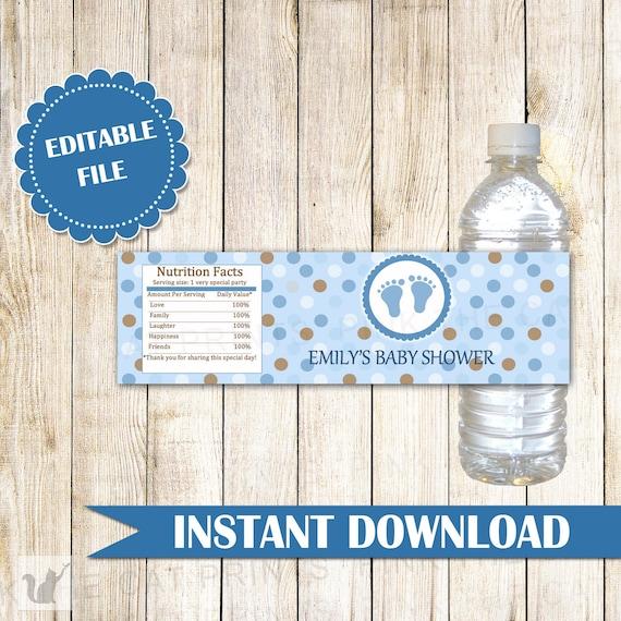 Blue Brown Baby Shower Bottle Label Polka Dots Boy Baby Shower Bottle Wrapper Blue Brown Bottle Label Blue Brown Sticker INSTANT DOWNLOAD