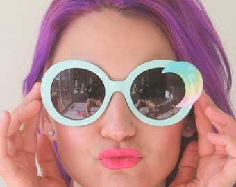 The MINTY MOON Sunglasses.handmade. retro. colorful shades. hipster. kitsch. rainbow brite. summer. face. galaxy. party. golden. twiggy. mod