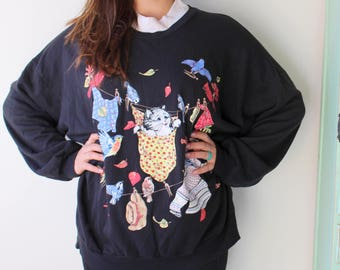 Vintage CAT SWEATER ...size large one size free size womens.....kitsch. retro. funny. cat. kitten. meow. animal lover. black. hep cat. 1980s
