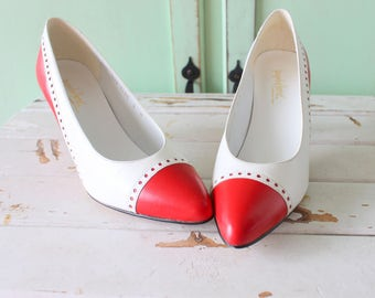 1980s RED and WHITE Two Toned Heels...size 5 women...retro. pumps. valentine. mad men heels. nautical. red heels. holiday. hollywood. italy