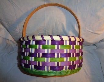 Handmade Large Girl's Classic Round Easter Basket - Purple and Green