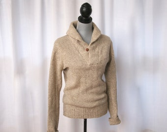 1970's Classic Shawl Collared Sweater in Heather Tan, Size Small to Medium