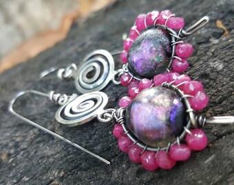 Basha bead gemstone swirl earrings, ruby earrings, coil earrings, hippie earrings, boho, flower power, basha bead earrings, artisan jewelry