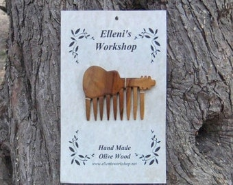 Guitar Hair Comb, Hand Carved From Greek Olive Wood