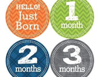 1st Year Baby Month Stickers, PLUS Just Born, Baby Boy Milestone Stickers, Bodysuit Monthly Sticker, Chevron Green Grey Orange Blue 001B