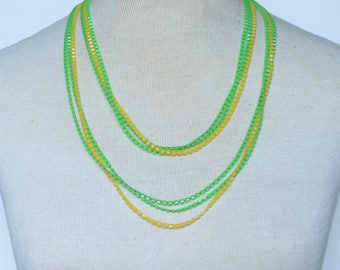 Vintage Multistrand Triple Three Multi Strand Neon Bright Green Yellow Square Opaque Bead Beaded Sautoir Flapper Rope Length Necklace