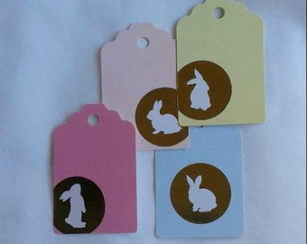Bunny Tags / Gold Bunny / Recycled / Up Cycled / Set of 4