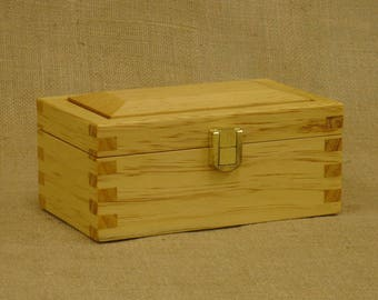 Radiata Pine Box with Brass Hinges and Latch