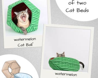 Matching Pet Beds in Watermelon Fabric - the Cat Canoe and Cat Ball