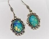 Opal Earrings, Dragons Breath Earrings, Dragon Breath Opal, Turquoise Opal,  Magic Opal Earrings