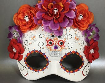 Deluxe Day of the Dead Flower Crown Sugar Skull Leather Masquerade Mask, OOAK