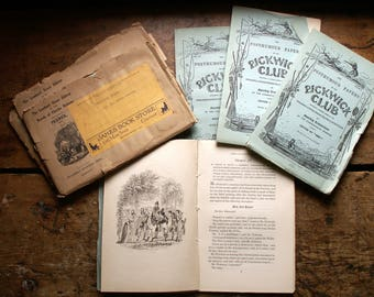 Vintage set of 20 Posthumous Papers of the Pickwick Club - Charles Dickens Installment Literature Mailed from London - 1932