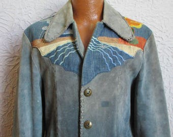 70's Vintage Men's Hippie Western Embroidered Leather Denim Jacket 44
