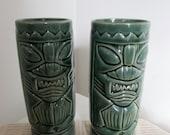Vintage Tiki Glasses Green Ceramic