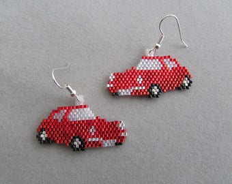 Beaded Red Sports Car Earrings