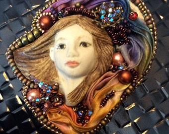 Necklace Pin,Brooch,Porcelain Cabochon,Shibori Fabric,Swarovski Crystals,Bead Embroidery Necklace,Beadweaving,Amyjohnsondesigns,NX1516