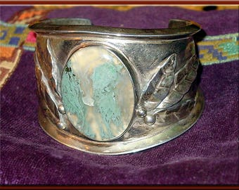 Stunning SILVER & MOSS AGATE Bracelet, Sterling Silver. An Original Michael Collins 1970's Vintage Work of Art