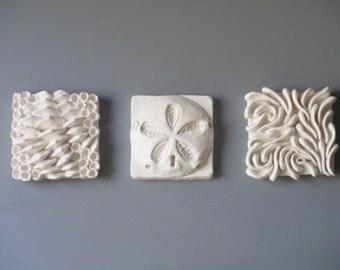 Biodiversity 3 piece set, Ceramic Wall Art, ocean art tile, beach art, Sand Dollar, oysters and coral, sculptures, reef art, schooling fish