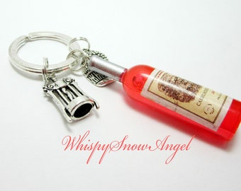 Wine Bottle Keychain Champagne Key Ring Bottle Opener Charm Wine Barrel Charm Orange Coral Acrylic Bottle 240