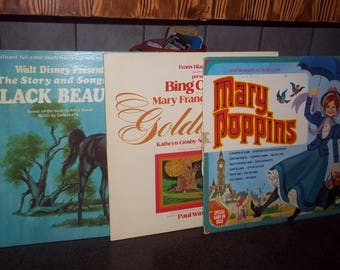 3 Vintage Children's Record with read along book - Black Beauty, Mary Poppins, Goldilocks