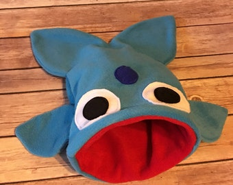 Small Blue Whale with Blue Porthole Fish Shark Monster Sleep Pouch / Cuddle Sack Bed - Bonding Bag - guinea pigs, hedgehogs, rats, ferrets
