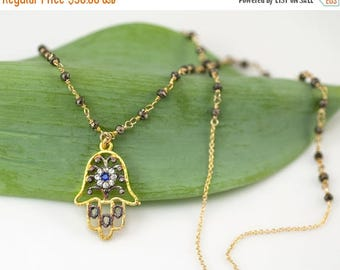 40 OFF - Hamsa Hand Necklace - Pyrite Necklace - hand of fatima Necklace - Precious stone Necklace - Statement Necklace - Gold Necklace