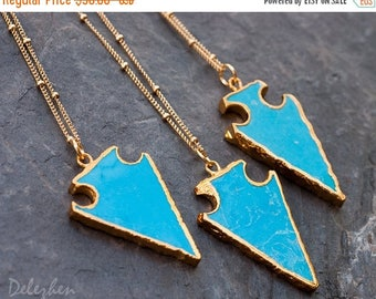 40 OFF - Turquoise Arrowhead Necklace - Satellite Gold Beaded Chain - Layering Necklace - Bohemian Necklace - Boho Hippie Chic