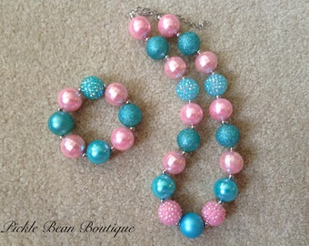 Bubblegum Necklace, Pink and Blue Chunky Necklace, Chunky Baby Necklace, Girls Necklace, Girl Bubble Gum Necklace, Bubblegum Necklace