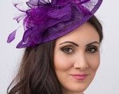 """Purple Fascinator - """"Penny"""" Mesh Hat Fascinator with Mesh Ribbons and Purple Feathers"""