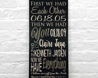 Important Date Art Sign on Wood or Canvas, First We had Each Other includes Marriage Dates, Personalized Family Name Sign Special Dates