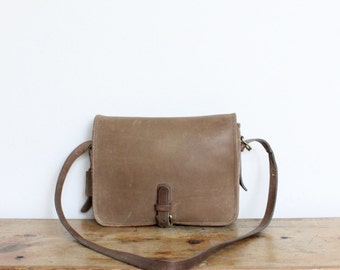 Vintage Coach Bag // Crossbody Buckle Pouch Saddle Putty Tan 9590 // Made in NYC Handbag Purse