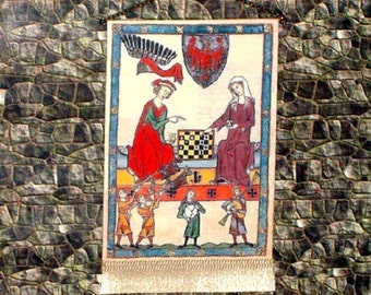 The Chess Players Tapestry, Medieval Dollhouse Miniature, 1/12 Scale, Hand Made