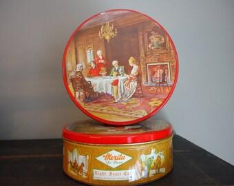 Vintage Merita Deluxe Light Fruitcake Tin, metal tin, cookie tin, colonial tin, Two American Bakeries Co. tin