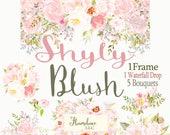 Blush Flower Clipart roses,flower roses clipart,sage and blush peony clipart, sage and blush roses clipart,clipart roses,Watercolor Clipart