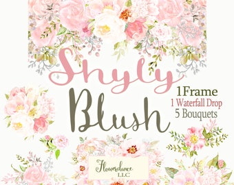 Blush Flower Clipart roses,flower roses clipart,sage and blush peony clipart, sage and blush roses clipart,clipart roses,Watercolor Clipart