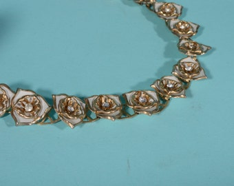 Vintage 1950s Wedding Necklace Floral Rhinestone Bridal Fashions 1960s