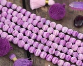 Purple Rain : Grooved Melon Shape, Handmade Carved Round Mix Bone Beads, 9-10mm, Yoga Mala, Bohemian Tribal Jewelry Making Supplies, 20 pcs