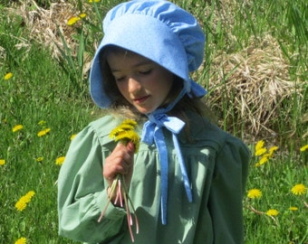 ABBY- Girls Prairie Bonnet/ Girls Solid Color Pioneer Bonnet - Color Choices - Fits All 5 to 14