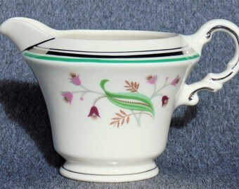 Old Ivory Syracuse China Coral Bell Pattern Cream Pitcher Soft White With Pink & Cranberry Flowers Green Leaves Platinum Trim