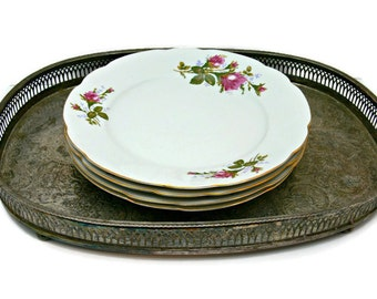 Vintage Cmielow Porcelain Dinner Plates - Set of 4 - 9.5 Inch - Made in Poland - Fine China Dinnerware
