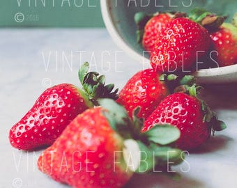 """Social Media Photo, Styled Stock Photo, Instagram, Instant Download Photo, Printable Photo, Strawberries, 8.5"""" x 11"""", Spring colors"""