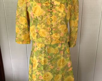Vintage yellow floral Elinor Gay Original Dress/ 2 piece dress