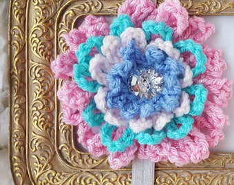 Pink Flower Baby Headband with Sparkles