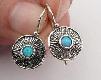 Round Opal Earrings, Blue Stone Earrings, 925 sterling silver opal earrings, Round Earrings, birthday gift for her, Opal Jewelry