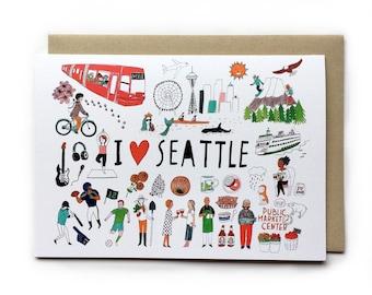 Seattle Greeting Card, I love Seattle, Seattle Illustration, Seattle Space Needle, Pacific Northwest, Mixed Media Art, Pen & Ink Art, 5x7