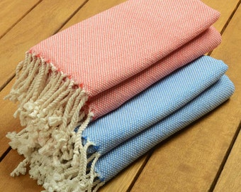set of 2 handwoven plain turkish towels monogrammed embroidered spa sauna - Turkish Towels