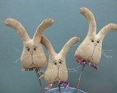 Primitive Bunny Rabbit Plant Pokes - Set of 3 - Grungy Fabric - Spring Crock Pokes - Easter Decor - Country Primitive - Stuffed Bunnies
